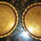 VINTAGE STUNNING BRASS COPPER SET OF 2 PASHWAR PAKISTAN INCISED AFGAN METAL WORK