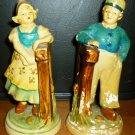 VINTAGE CERAMIC FIGURAL FRENCH COLONIAL MAN & WOMAN BOOKENDS FELT LINED