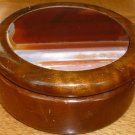 BEAUTIFUL HARD WOOD TRINKET JEWELRY BOX WITH ONYX INLAY FROM BRAZIL