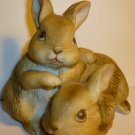VINTAGE HOMCO PORCELAIN BISQUE FIGURINE PLAYING BUNNY RABBIT