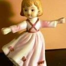 VINTAGE 1979 PORCELAIN BISQUE DANCING GIRL FIGURINE HOLDER? CMA INC