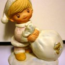 ADORABLE BISQUE HOMCO FIGURINE GIRL WINTER WITH SACK FULL OF PRESENTS BEAR