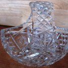 STUNNING VINTAGE BOHEMIAN LEAD CRYSTAL INTRICATE CUT GLASS BASKET FRUIT CANDY