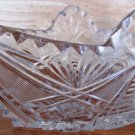 STUNNING VINTAGE BOHEMIAN LEAD CRYSTAL INTRICATE CUT GLASS BOAT FRUIT CANDY