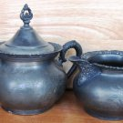 GORGEOUS VINTAGE ANIQUE SILVERPLATED LIDDED SUGAR BOWL & CREAMER SET ROCHESTER