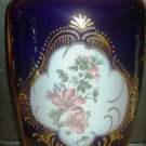 "GORGEOUS COBALT FINE PORCELAIN FLOWERS VASE MEDALLION FLOWERS 13"" SHEENI EGYPT 24K GOLD"