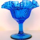 VINTAGE FENTON BLUE COBALT GLASS FOOTED BOWL COMPOTE CONVOLUTED RUFFLED EDGE