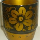 VINTAGE HANDPAINTED HANDCARVED WOODEN CUP TUMBLER RUSSIA KHOHLOMA HOHLOMA DESIGN