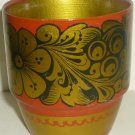 VINTAGE HANDPAINTED HANDCARVED WOODEN TUMBLER CUP RUSSIA KHOHLOMA HOHLOMA DESIGN
