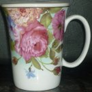 LIDED FINE PORCELAIN TEA/COFFEE CUP MUG FLOWERS ROSES BUTERFY