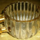 VINTAGE ROUND RIBBED SUGAR BOWL WITH HANDLES GOLD PAINTED EDGE RIM