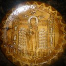 VINTAGE UNIQUE WOODEN CARVED PLATE ICON COPTIC CHRISTIANITY 9""
