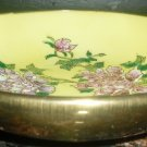 GORGEOUS YELLOW PORCELAIN HANDPAINTED CARNATION GOLD ENCASED PLATE DECORATIVE