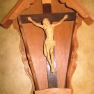 VINTAGE STUNNING WOOD CARVING BOX WALL MOUNT CRUCIFIX JESUS  ANRI CHRISTMAS