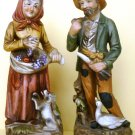 CHARMING VINTAGE HOMCO FIGURINE MAN W/DOG & WOMEN W/GOOSE FARMERS OLD MACDONALD