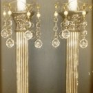 "VINTAGE GODINGER SILVERPLATE 12"" GREEK COLUMN CANDLE HOLDER SET OF 2 W/BOBECHES"