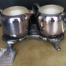 VINTAGE KEYSTONEWARE SILVER PLATED 3 PC SUGAR & CREAMER TRAY/CADDY CERTIFICATE