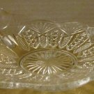 VINTAGE CUT GLASS CANDY DISH WITH FINGER LOOP HANDLE TEA CUP SAUCER