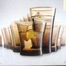 BEAUTIFUL SONOMA GLASSES SMOKY SET OF 16 COOLERS 16OZ & ROCKS 12OZ