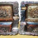 VINTAGE SILVERPLATE INDIVIDUAL ASHTRAYS SET OF 4 BARREL MAKING DESIGN ENGLAND
