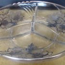 VINTAGE FOSTORIA SILVER POPPIES GLASS CONDIMENT 3 COMPARTMENT DISH PLATTER