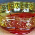 VINTAGE ORANGE RED AMBERINA DOUBLE HANDLE SCALLOPED  BOWL JEANNETTE AZTEC ROSE