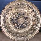 "BEAUTIFUL ENGLAND TIN HANDHAMMERED DECORATIVE PLATE 12""  FRUITS DESIGN WALL"