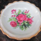 CHARMING HAND PAINTED ROSE CANDY NUT DISH SCALLOPED GOLD EDGE JAPAN