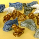 PORCELAIN SET 20 MINIATURE ANIMALS BEAR ELEPHANT EAGLE WOLF RABBIT FISH SEA LION