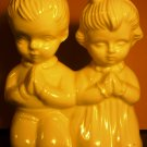 VINTAGE WHITE PORCELAIN FIGURINE KNEELING PRAYING KIDS GIRL & BOY