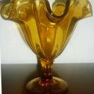 VINTAGE MARIGOLD AMBER GLASS CONVOLUTED RUFFLED PEDESTAL VASE DESERT BOWL DISH