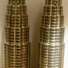 INTERNATIONAL COMPANY SILVERPLATED SALT & PEPPER SHAKERS ROUND HIGHRISE BUILDING