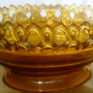 VINTAGE IMPERIAL IG AMBER GLASS LACE EDGE PEDESTAL OVAL BOWL 'NEST'