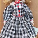 BEAUTIFUL BISUQE PORCELAIN ADELCO DOLL 14' W/STAND CHECKERED OUTFIT