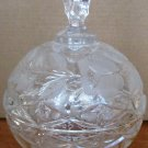 EXQUISITE GERMAN CRYSTAL CUT & ETCHED ROSES BALL SHAPED LIDDED BOWL