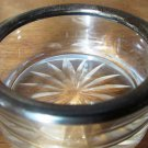 VINTAGE CRYSTAL WITH SILVER EDGE OPEN SALT DISH CELLAR