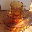 VINTAGE 20 PCS ARCOPOL ROC AMBER GLASS FRANCE BREAKFAST/DINNER STARTER SET NMB
