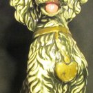 VINTAGE CHARMING PAINTED CERAMIC BLACK POODLE WITH GOLD HEART COLLAR FIGURINE