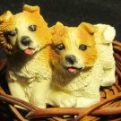 ADORABLE PUPPY DOGS FIGURINE IN A BASKET SIBERIAN HUSKY