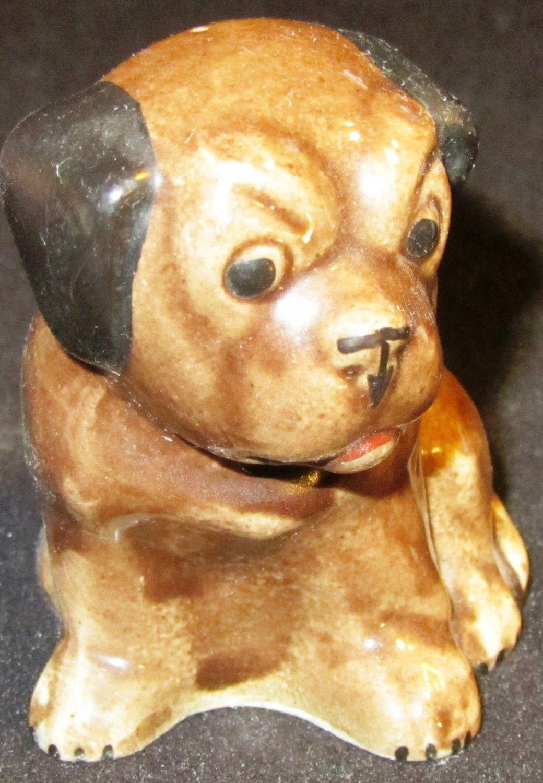 VINTAGE PAINTED CERAMIC DOG FIGURINE BULLDOG
