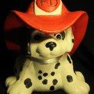ADORABLE PAINTED CERAMIC DALMATIAN PUPPY DOG FIGURINE FIRE DEPARTMENT FD HELMET