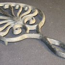 VINTAGE CAST IRON J.Z.H. LEAF DESIGN TRIVET HOT PLATE WALL DECOR
