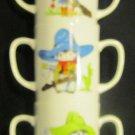 CHARMING PORCELAIN SET 3 DOUBLE HANDLE STACKABLE COWBOY KIDS MUGS CHILD GIRL BOY