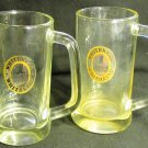 VINTAGE WHITBREAD ENGLISH CLEAR GLASS MUG STEIN TANKARD SET OF 2