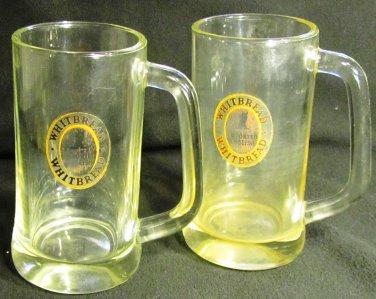 VINTAGE WHITBREAD ENGLISH CLEAR GLASS MUG STEIN TANKARD SET OF 2