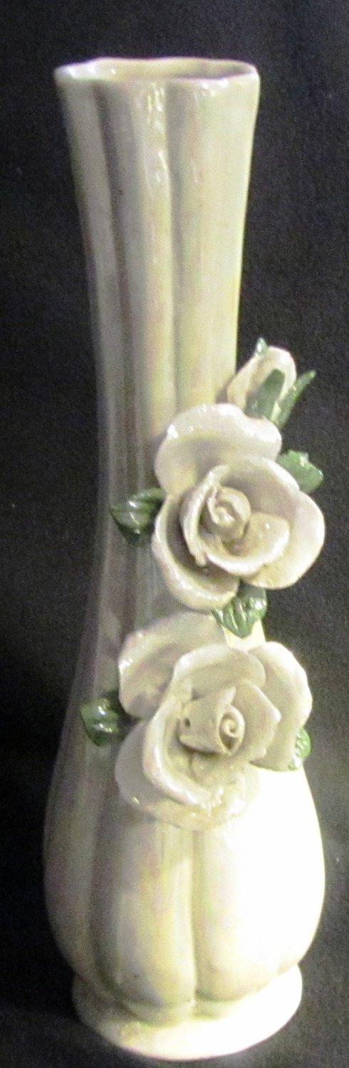 BEAUTIFUL LUSTERWARE PORCELAIN BUD VASE APPLIED SCULPTED ROSES