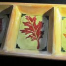 GORGEOUS MESA HANDPAINTED CERAMIC 3 COMPARTMENT DISH BOWL WARNER THANKSGIVING