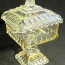 VINTAGE PEDESTAL JEANNETTE CLEAR GLASS GOLD CORNERS LIDDED WEDDING JAR BOWL