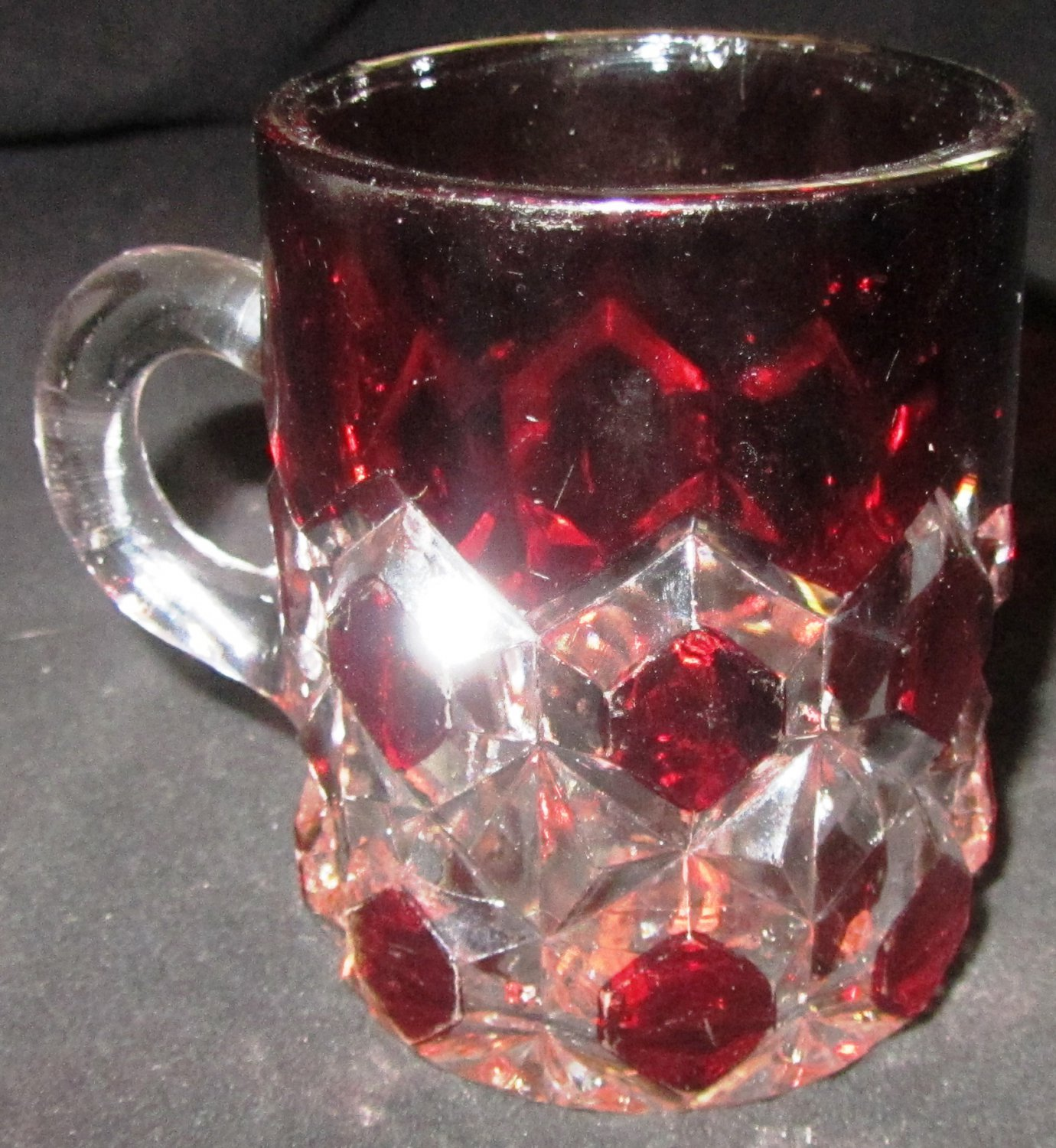 VINTAGE WESTMORELAND CLEAR RUBY GLASS PUNCH COFFEE CUP STAR OF DAVID OCTAGON PATTERN