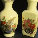 VINTAGE FINE PORCELAIN JAPAN MINIATURE DECORATIVE FLORAL VASE SET/2 PEACOCKS